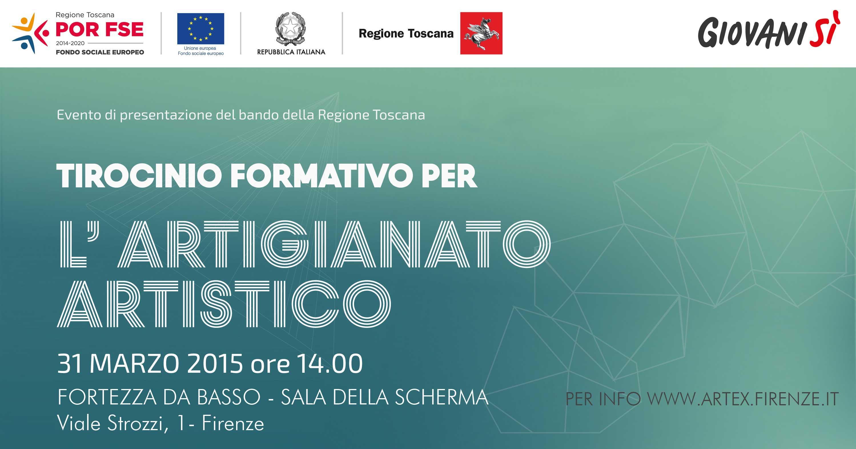 Tirocini per l'Artigianato Artistico: il 31 marzo evento di presentazione alla Fortezza da Basso a Firenze