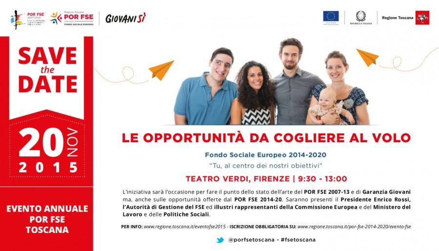 """""""Le opportunità da cogliere al volo"""": l'evento annuale del Fondo Sociale Europeo (Fse) il 20/11 a Firenze"""