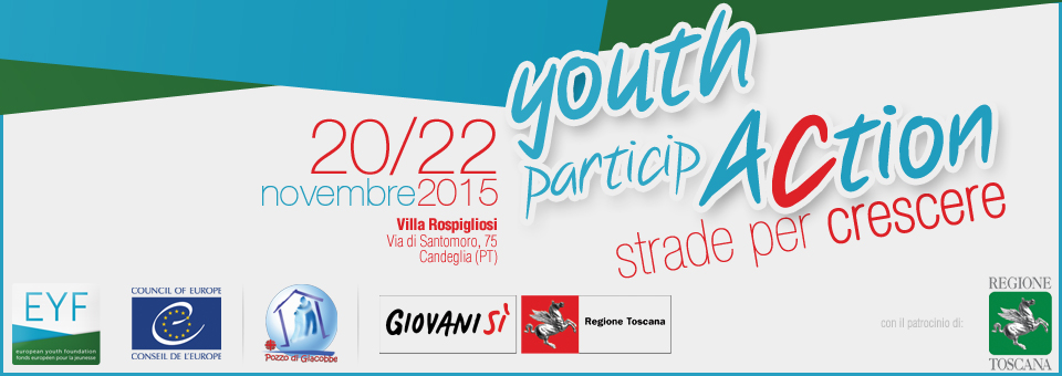 "Pistoia, 20-22 novembre, seminario ""Youth ParticipAction – Strade per crescere"""