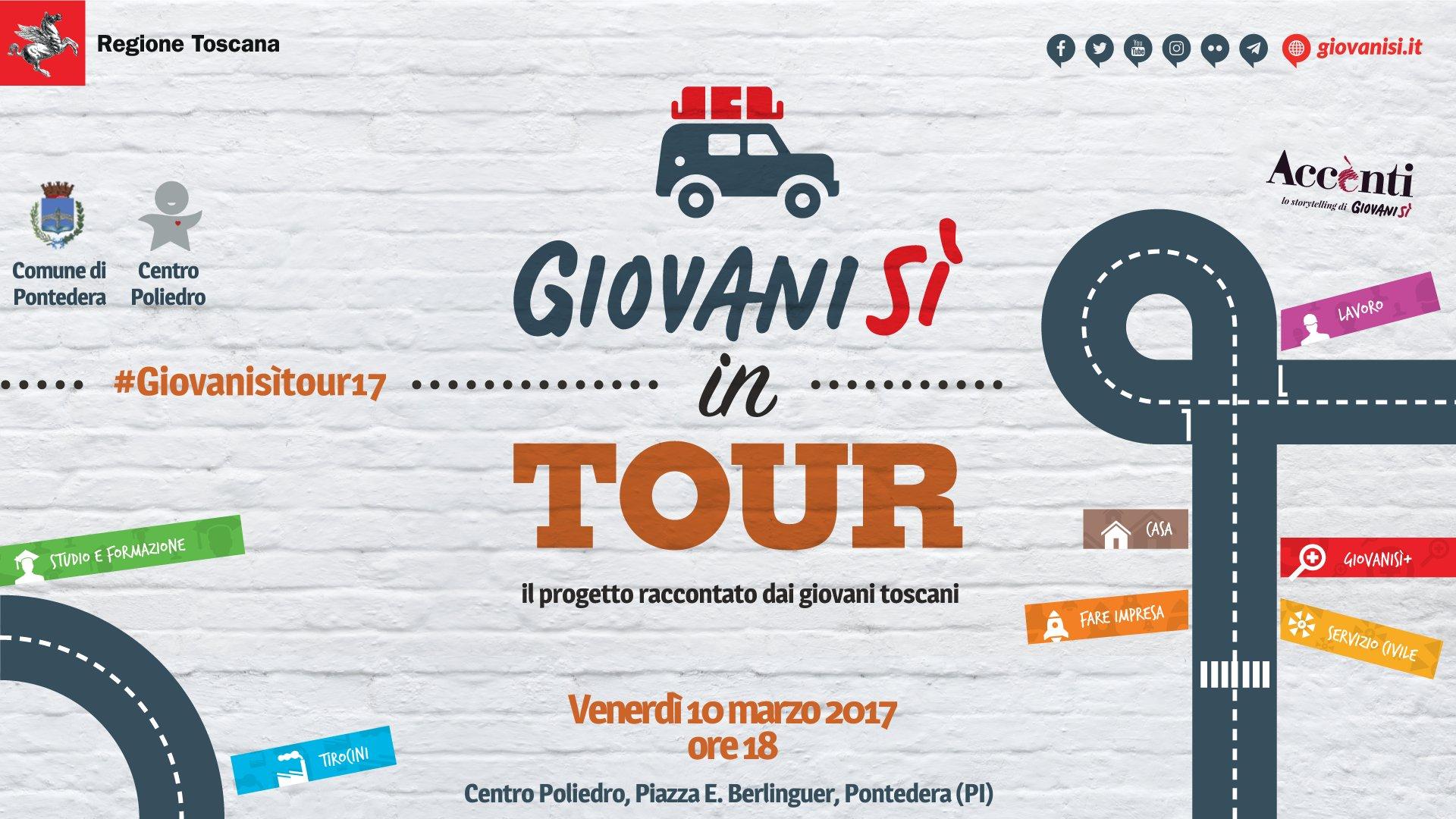 'Giovanisì in tour, il progetto raccontato dai giovani toscani': il 10/03 a Pontedera (PI)
