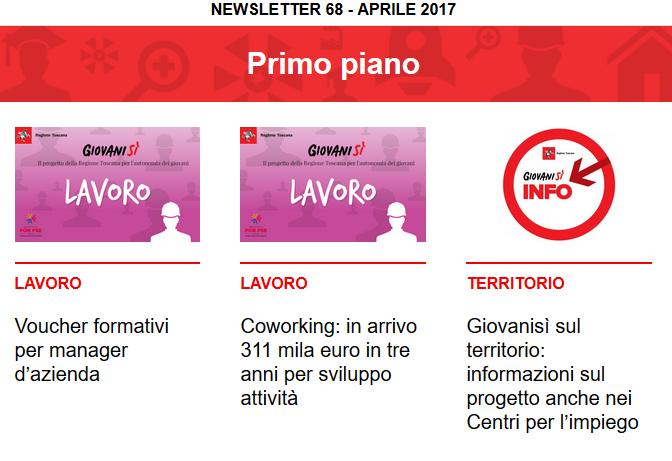 Leggi la newsletter n°68 di Giovanisì (aprile 2017)