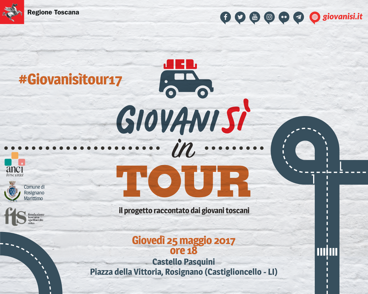'Giovanisì in tour, il progetto raccontato dai giovani toscani' il 25 maggio a Rosignano (Castiglioncello &#8211; LI) <div class='giovanisi-subtitle'>Con la partecipazione dell&#039;attore comico Lorenzo Baglioni </div>