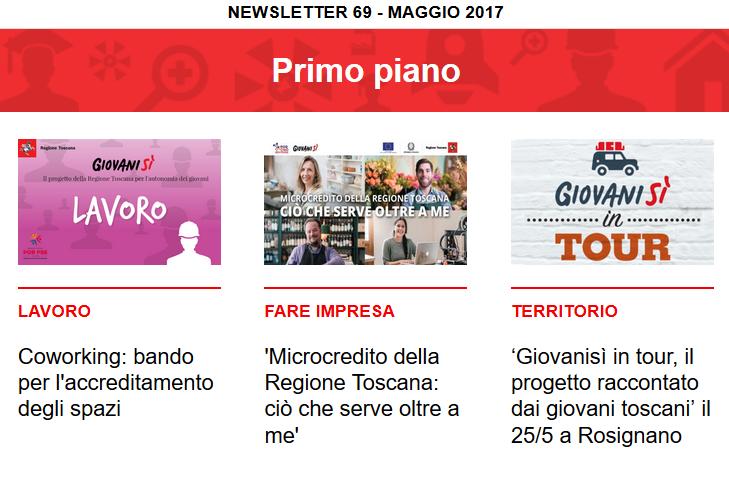 Leggi la newsletter n°69 di Giovanisì (maggio 2017)