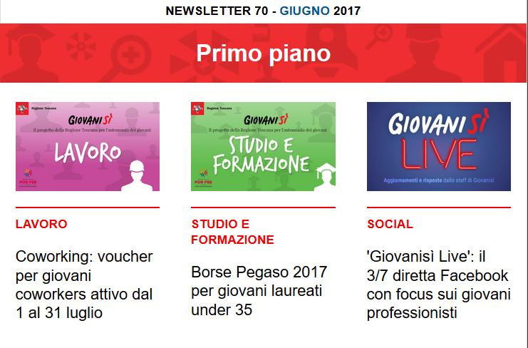 Leggi la newsletter n°70 di Giovanisì (giugno 2017)