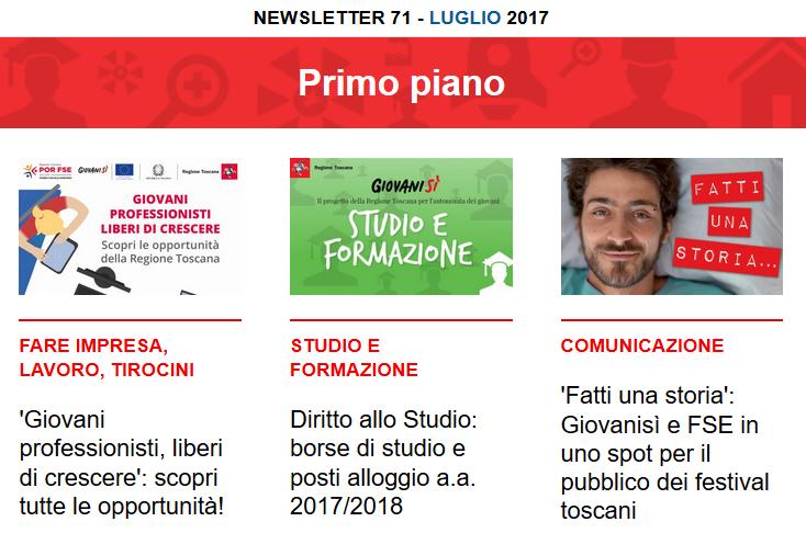 Leggi la newsletter n°71 di Giovanisì (luglio 2017)