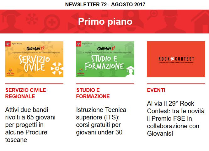 Leggi la newsletter n°72 di Giovanisì (agosto 2017)