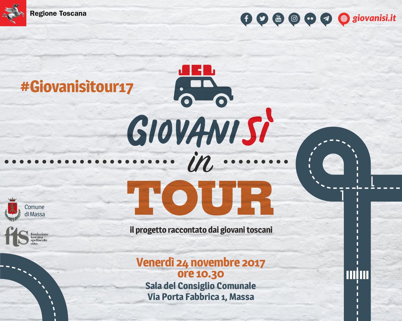 """""""Giovanisì in tour: il progetto raccontato dai giovani toscani"""": sesta tappa il 24/11 a Massa"""