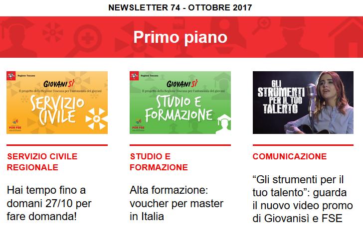 Leggi la newsletter n°74 di Giovanisì (ottobre 2017)