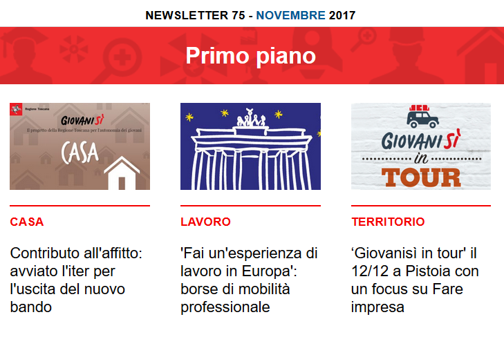 Leggi la newsletter n°75 di Giovanisì (novembre 2017)