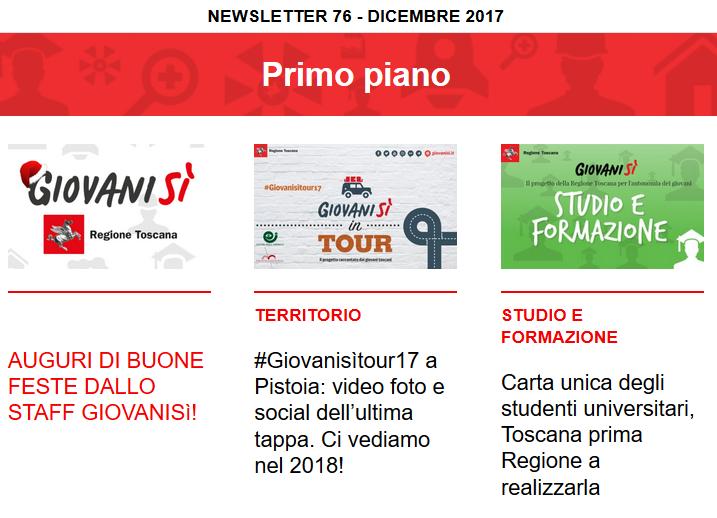 Leggi la newsletter n°76 di Giovanisì (dicembre 2017)