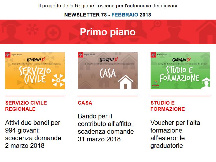 Leggi la newsletter n°78 di Giovanisì (febbraio 2018)