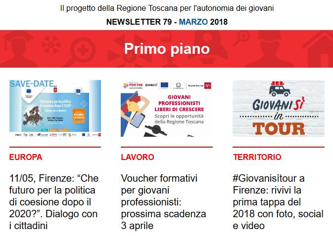 Leggi la newsletter n°79 di Giovanisì (marzo 2018)