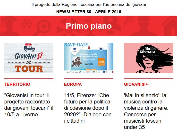 Leggi la newsletter n°80 di Giovanisì (aprile 2018)