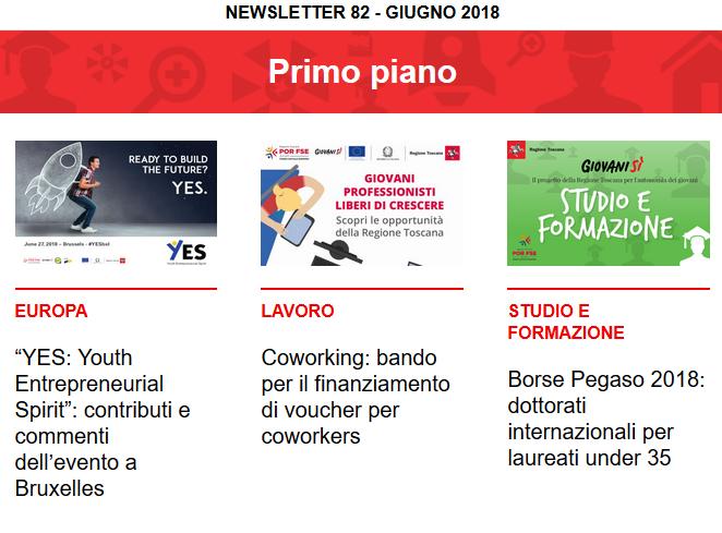 Leggi la newsletter n°82 di Giovanisì (giugno 2018)