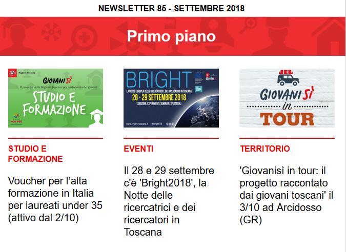 Leggi la newsletter n°85 di Giovanisì (settembre 2018)