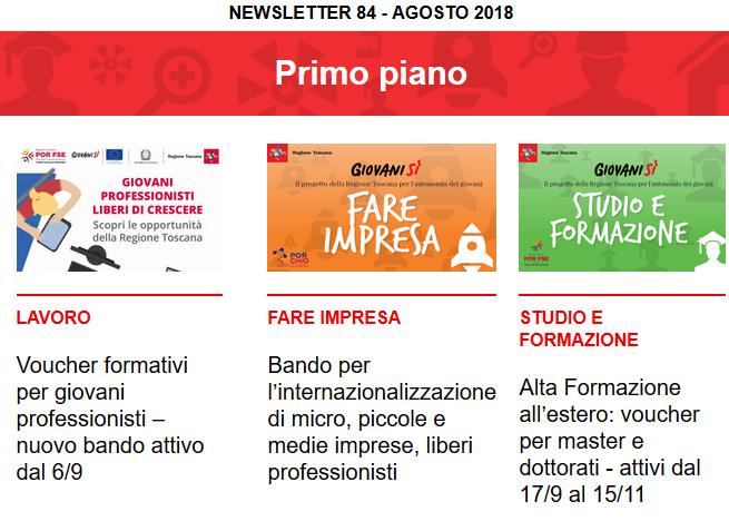Leggi la newsletter n°84 di Giovanisì (Agosto 2018)