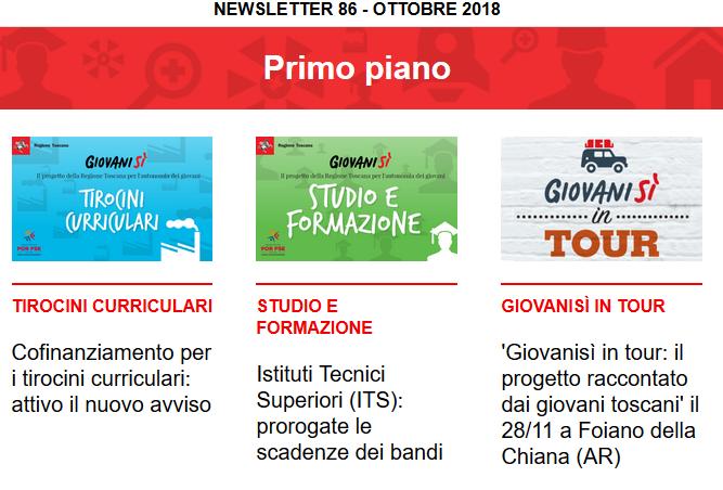 Leggi la newsletter n°86 di Giovanisì (ottobre 2018)