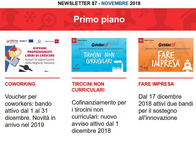 Leggi la newsletter n°87 di Giovanisì (novembre 2018)