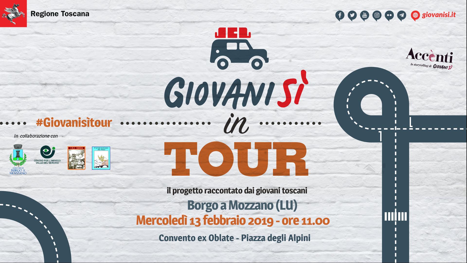 &#8220;Giovanisì in tour: il progetto raccontato dai giovani toscani&#8221;: il 13/2 a Borgo a Mozzano (LU) <div class='giovanisi-subtitle'>Incontro rivolto alle classi IV e V dell&#039;ISI Barga (ITT Enzo Ferrari)</div>