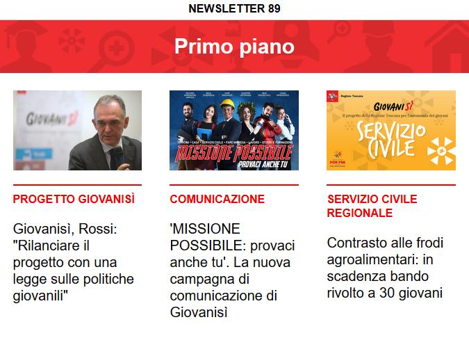 Leggi la newsletter n°89 di Giovanisì
