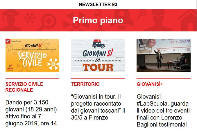 Leggi la newsletter n°93 di Giovanisì con tutte le notizie e le opportunità del progetto